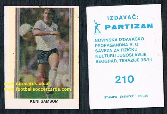 1980s Yugoslavian card Kenny Sansom Crystal Palace Arsenal QPR